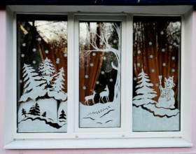 Декоруємо вікна до нового року фото