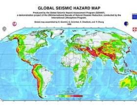 Карта землетрусів. Сейсмонебезпечні зони. Зони землетрусів. фото