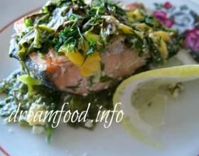 Риба зі шпинатом під вершковим соусом фото