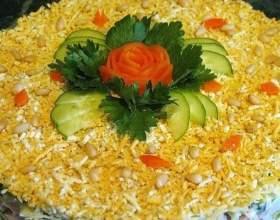 Салат з рисом, шинкою і авокадо фото