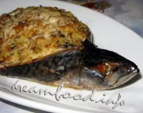 Скумбрія фарширована рисом і овочами фото