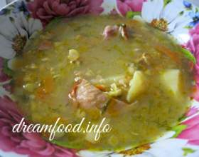 Суп гороховий з копченими реберцями фото